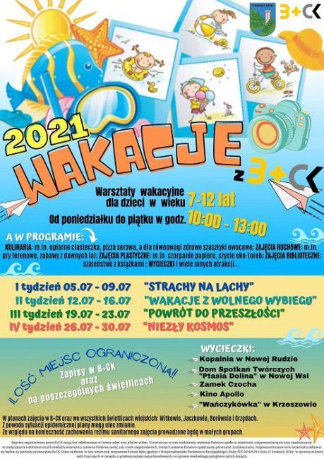 Plakat na warzsztaty wakacyjne 2021 w Biobliotece+Centrum Kultury w Czarnym Borze oraz na świetlicach w Witkowie, Jaczkowie, Borównie i Grzędach